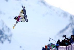 Feb 11, 2014; Krasnaya Polyana, RUSSIA; Shaun White (USA) competes during the men's halfpipe snowboarding qualification of the Sochi 2014 Olympic Winter Games at Rosa Khutor Extreme Park. Mandatory Credit: Guy Rhodes-USA TODAY Sports