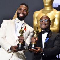 Mandatory Credit: Photo by Stephen Lovekin/WWD/REX/Shutterstock (8434890gx) Barry Jenkins and Tarell Alvin McCraney - Writing (Adapted Screenplay) - 'Moonlight' 89th Annual Academy Awards, Press Room, Los Angeles, USA - 26 Feb 2017