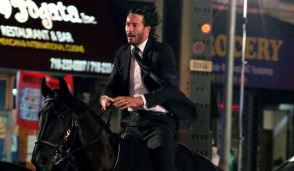 "New York, NY - Keanu Reeves does his own stunts by riding a horse at full speed for the third installment of ""John Wick"". The action sequence was being filmed under elevated train tracks in Brooklyn in the early hours of Sunday morning. Pictured: Keanu Reeves BACKGRID USA 14 JULY 2018 BYLINE MUST READ: BrosNYC / BACKGRID USA: +1 310 798 9111 / usasales@backgrid.com UK: +44 208 344 2007 / uksales@backgrid.com *UK Clients - Pictures Containing Children Please Pixelate Face Prior To Publication*"